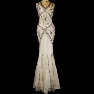 Vintage Cache 100% silk fully beaded evening gown.